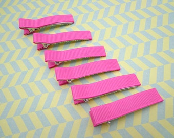 Sale--10 pcs girl hair clips --hot pink satin hair clips - girl barrettes