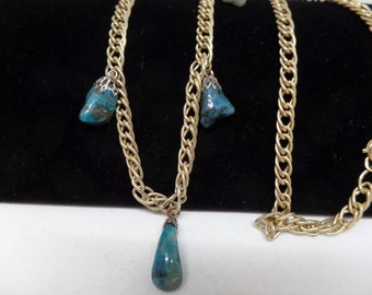 Lovely Vintage Turquoise Nugget Long Necklace