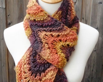 Merino Wool Scarf - Feather and Fan Scarf  - Multicolor Scarf - Autumn Leaves Scarf -  Long Scarf - Ready to Ship