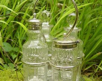 Antique English Cut Glass 4 Bottle Cruet Set with Silver Stand 1800