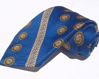 Vintage 1970s Wide Blue Polyester Tie with Gold Aztec Stripes from Sears Mens Store
