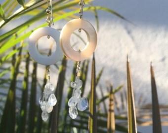 Valentines day gift,White earrings, gem stone earrings, Bridal Earrings, dangle earrings, natural earrings, girlfriend gift