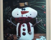 Wool Applique - 'Frozen' snowman pinkeep pattern