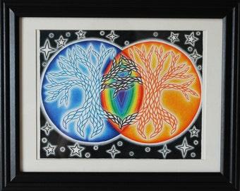 "Original Mixed Media Artwork ""Unity Trees"" Framed and Ready to Hang"