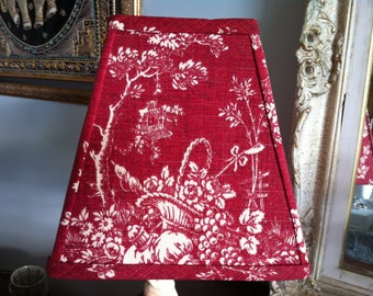 Square Lampshade red and cream French toile Waverly Country House