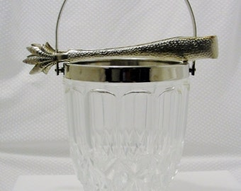 Crystal Ice Bucket Silver with Tongs.