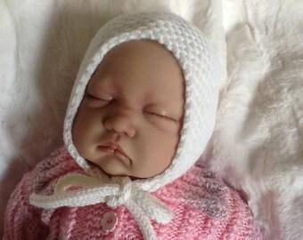 White Newborn baby bonnet.Baby hand knits. Essential Newborn bonnet.Classic Baby bonnet.Unisex baby bonnet. READY TO SHIP.