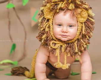 Lion Costume, Newborn Lion Costume, Baby Lion Costume, Lion Hat and Tail Costume, Halloween Lion Costume, Infant Lion Halloween Costume