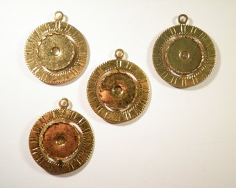 4 Goldplated Spinning Pendants WITH 18mm Spinning Setting
