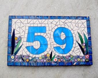 Mosaic Door Number, House Number, Address Plaque, Number Plate, Mosaic Number, Made to Order, Door Hanging