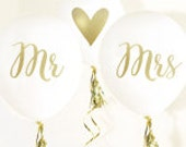 Mr. & Mrs. Balloons, Wedding Balloons, Bridal Shower Decorations - Set of 3