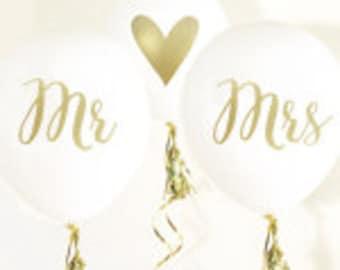 Mr. & Mrs. Balloons, Wedding Balloons, Bridal Shower Decorations - Set of 3