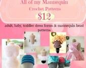 CROCHET Patterns Adult, infant, baby dress form mannequin, baby mannequin head, newborn mannequin head