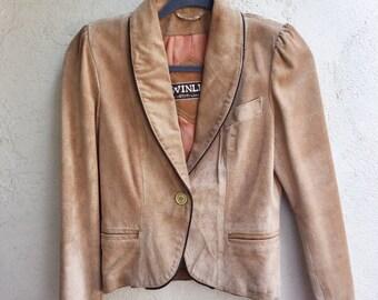vintage tan suede leather blazer | small | the winlit jacket