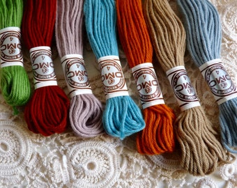 Vintage French EMBROIDERY THREAD, 7 skeins in Different Colors, DMC.
