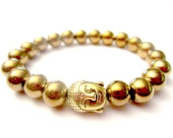 Gold Buddha. Hematite Bracelet. Buddha Bracelet. Chakra Bracelet. Healing Bracelet. Mala Bracelet. Gold Bracelet.