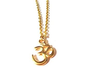 Gold Om Necklace. Gold Ohm Necklace. Yoga Necklace. Om Necklace. Om Charm.