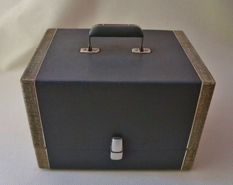 Reserved for Allen.......Record Case, Vintage, Grey, Mid-Century, Two Tone, Storage