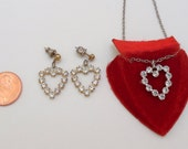 Vintage Rhinestone Heart Necklace Earring Set