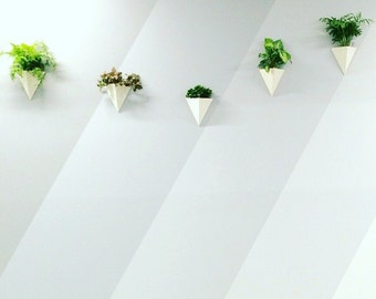 Pyramid Wall Planter White Porcelain Geometric Minimal Wall Container MADE TO ORDER