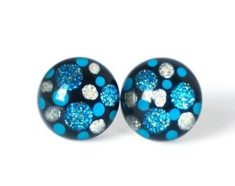 Polka dot earrings – Nail polish Earrings – Blue Earrings - Gift for her – Valentine gift – Stud Earrings - Surgical steel earrings
