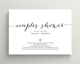 Printable Bridal Couples Shower Invitation \\ Black and Gold Invite (BR174)