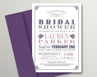 Printable Bridal Shower Invitation \ Vintage Poster Invite \ Purple Invite \ Roses (BR35)