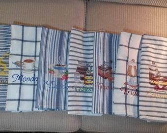 Days of week/Set of Vintage Coffee Designs/Blue stripe /Machine Embroiderd /Shower gift