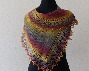 Elegant wool lace scarf - purple, mustard, plum