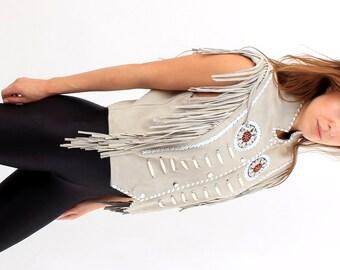 Vintage Western Native American Beaded Fringe Grey Suede Vest M