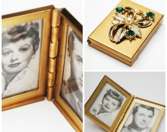 Small double hinge frame photo box with rhinestone flower and Cary Grant and I love Lucy photo
