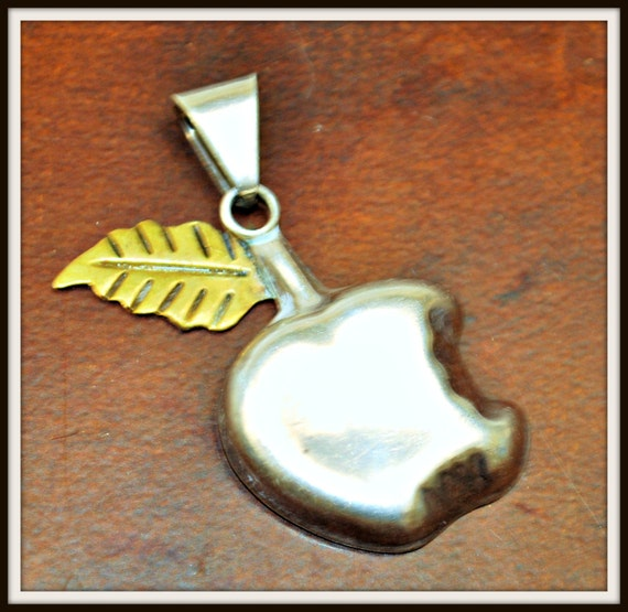 Sterling Apple Pendant - Signed  Mexico - Brass leaf - Vintage supply - TAxco - Silver fruit