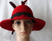 Handmade Red Wool Felt Ladies Dress/Church Hat