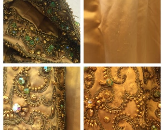 DONALD BROOKS Dress jacket Jackie O Heavily beaded antique gold satin evening Petite Small American designer Study Museum Repurpose