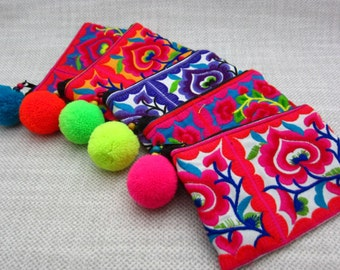 Lotus Pom Coin Purse Trendy Colorful Neon Change Purse, Girls Small Pom Purse, Wholesale Bags & Purses,Trending Gifts, Gifts for all,