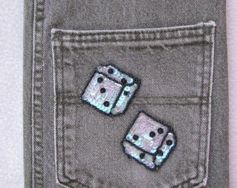 Recycled Denim Composition Notebook Cover, Denim Journal Cover, Gray Denim, Upcycled Denim  Jeans, Dice Game, Las Vegas, Dice Applique
