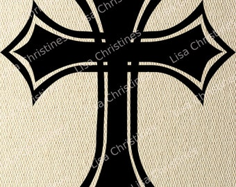 Cross, Easter Illustration, Instant Download, Clipart, Digital Transfer Image for Papercrafts, Pillows, Fabric, Iron on  Transfer 232