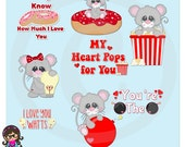 2016 Valentine Pun Mice Clip art  Clipart Graphics  Commercial Use