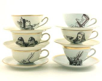 6 Altered Vintage Cups  Mad Tea Party Alice in Wonderland Set Coffee / Tea Porcelain Lewis Carroll Hatter Hare Queen Unique One of a Kind