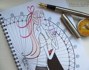 Designer LONDON EYE Notebook, chic feminine notebook, illustration, fashion notebook fashion print, sketchbook, student gift, London England