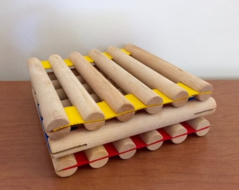 Vintage Primary Colors Wood and Canvas Trivets -- Set of 3