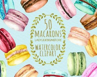 Macarons Watercolor Painting - Macarons Print - French Watercolor Print - Macaron Art - French Watercolor Painting - Baby Art - Clip Art
