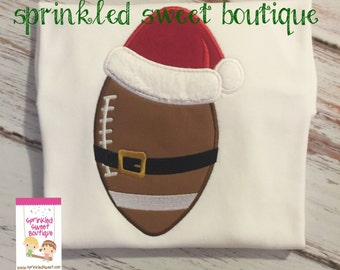 Santa Football Sports Christmas Boys Merry Christmas Holiday Custom Shirt Boy Monogram