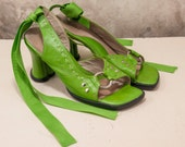 RESERVED Fluevog heart heeled bright green sandal w/ ankle ribbon and silver details size 7