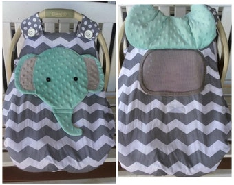 Make To Order Car Seat Canopy With Strong Nylon Netting Peek -A-Boo Window & Fox Fitted Car Seat Canopy With A Peek-A-Boo Opening Donu0027t