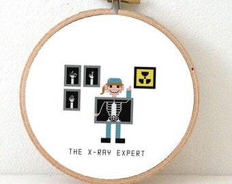 2 X-ray expert cross stitch patterns. x-ray nurse gift embroidery. hospital gift. x-ray technician cross stitch pattern