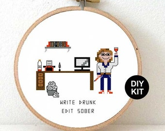 Funny cross Stitch kit for beginners. DIY gift for blogger or gift idea for writer. Christmas gift writer. write drunk edit sober quote