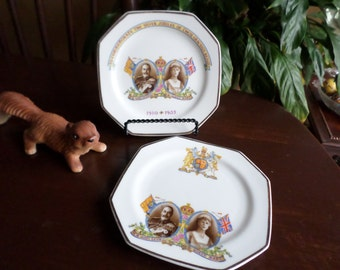 Set of Two-Vintage Paragon England-Silver Jubilee/King & Queen-Octagonal Dessert Plates