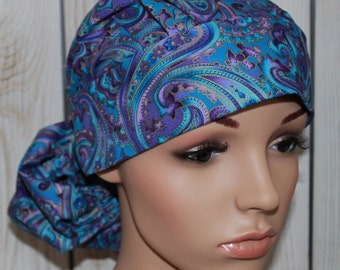 Purple & Blue Paisley, Scrub Hat, Women's Surgical Scrub Cap ,Front Fold Ponytail