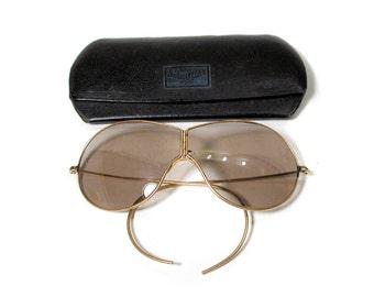 40s Hinged Aviator Sunglasses, WWII Aviator Glasses, 1940s Pilots Glasses, Hinged Shooting Sunglasses Eyeglasses